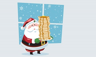 Santa Clause with a stack of pancakes