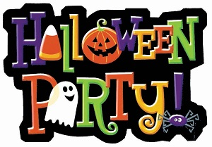Colorful Halloween party sign with Halloween symbols